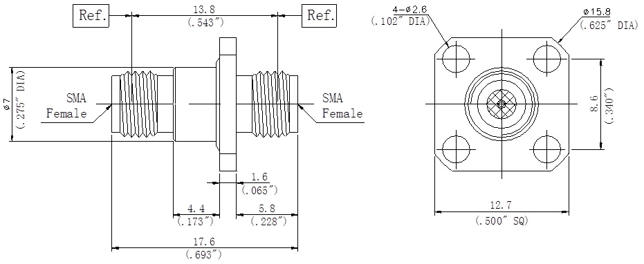 RF Precision Adapter SMA Female to SMA Female, Flange Mount, Technical Drawing