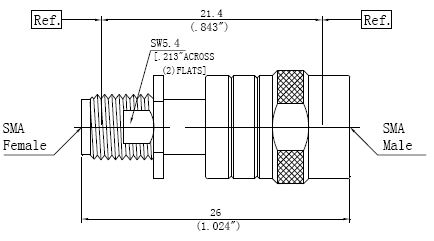 RF Adapter SMA Male to SMA Female, Technical Drawing