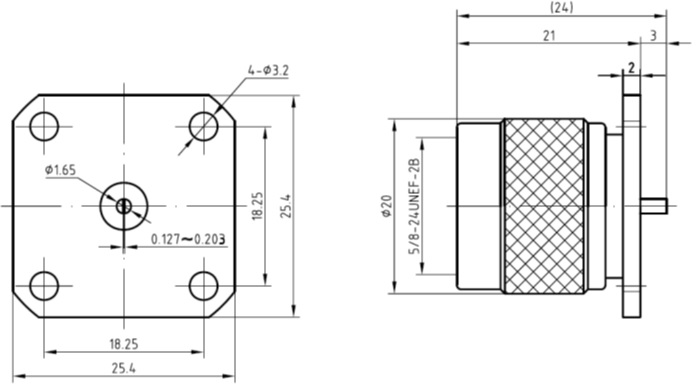 N-Type Male, 4 Hole Flange Mount, Tab Contact Technical Drawing