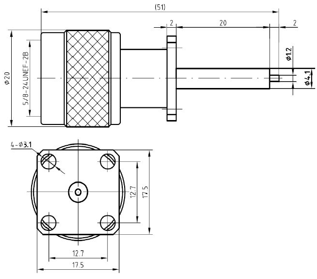 N-Type Male, 4 Hole Flange Mount, DC to 11GHz Connector, Technical Drawing