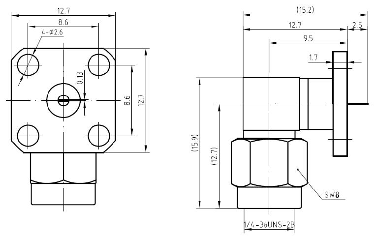 SMA Male, Right Angle, Flange Mount, Tab Contact Connector, Technical Drawing
