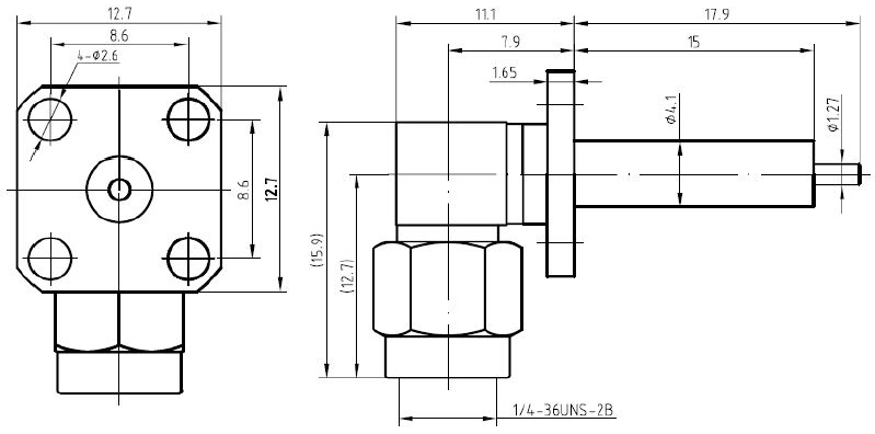 SMA Male, 4 Hole Flange, Extended Dielectric, Right Angle Connector, Technical Drawing