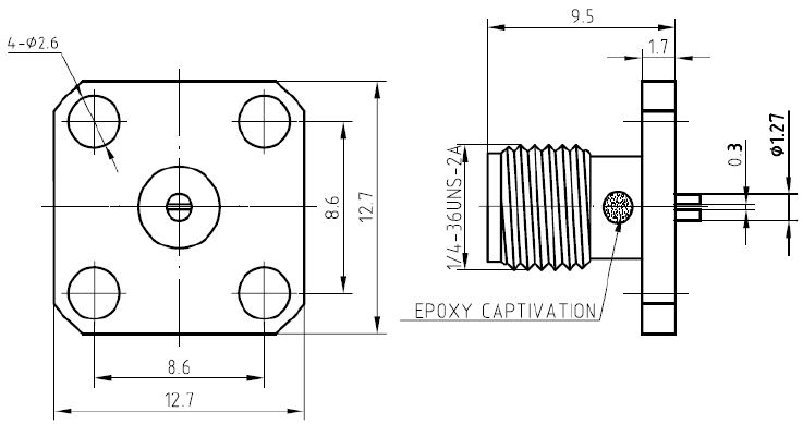 SMA Straight Flange Jack Slotted Contact Connector, Technical Drawing