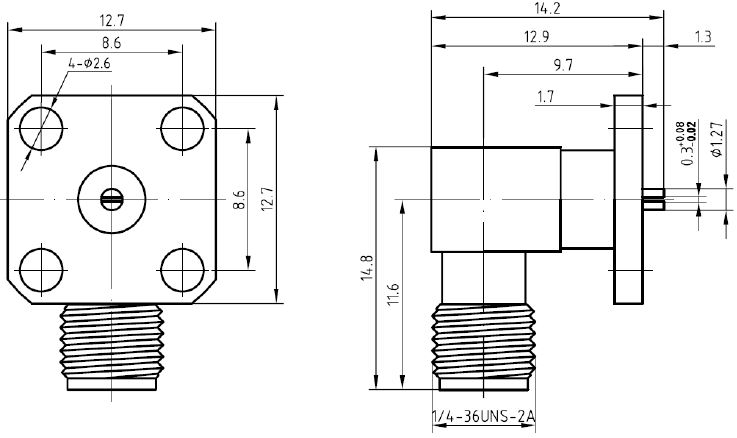 SMA Female, Right Angle, Flange Mount, Slotted Contact Connector, Technical Drawing