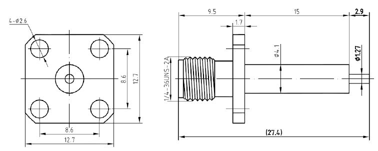 SMA Female, 4 Hole Flange, Extended Dielectric Connector, Technical Drawing