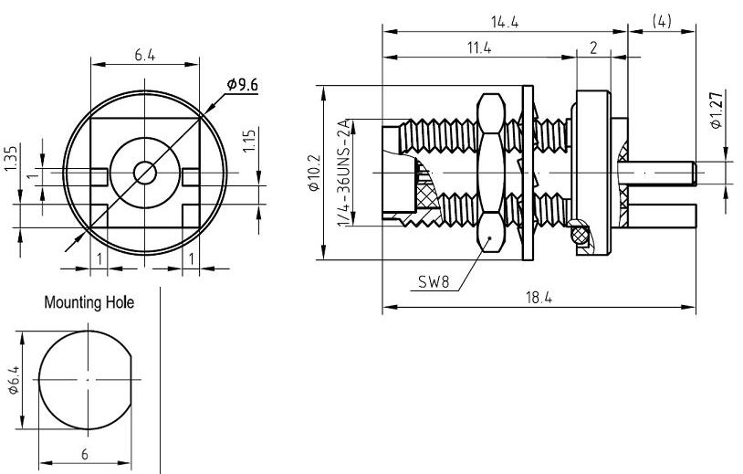 SMA Female, PCB Edge Mount Bulkhead, Connector Technical Drawing