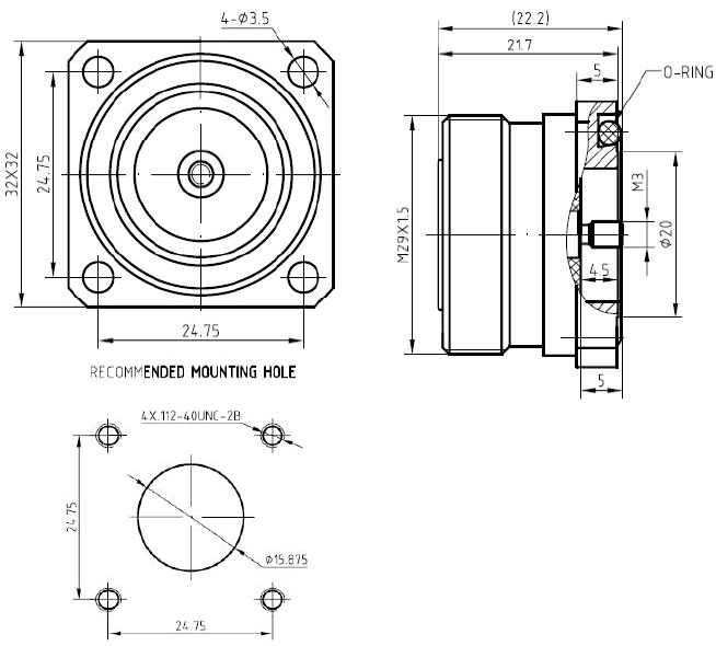 7/16 DIN Female, Panel Mount, M3 Stud, Technical Drawing
