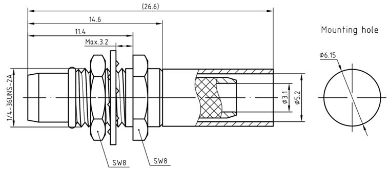 BMA Male Bulkhead Connector for RG58 Technical Drawing