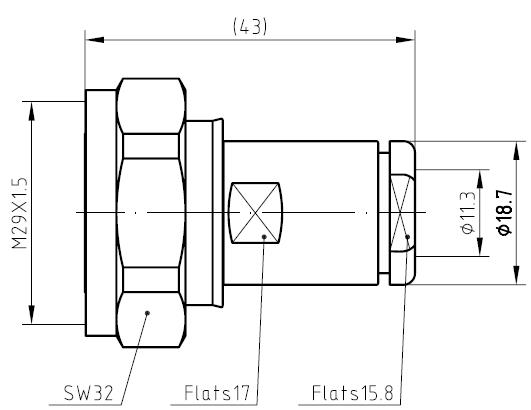 7/16 DIN Male, Cable Clamp, RG213/214/393, Connector Technical Drawing