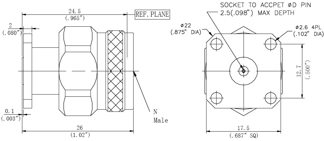 Replaceable Pin, N-Type Male Connector, Technical Drawing