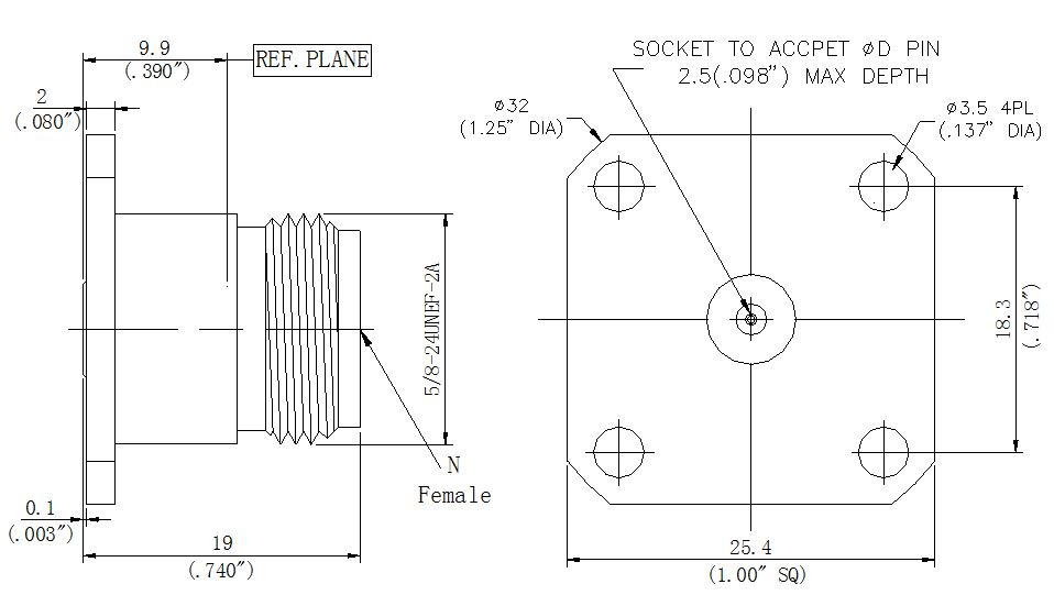 Replaceable Pin, N-Type Female Connector, Technical Drawing