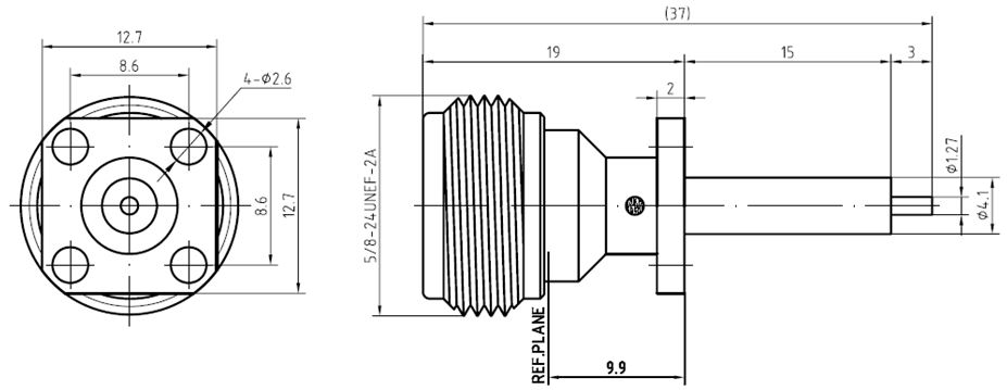 N-Type Female, 4 Hole Flange Mount, SQ12.7mm, 18GHz, Technical Drawing