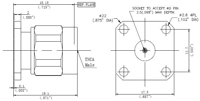 Replaceable Pin, TNCA Male Connector, Technical Drawing