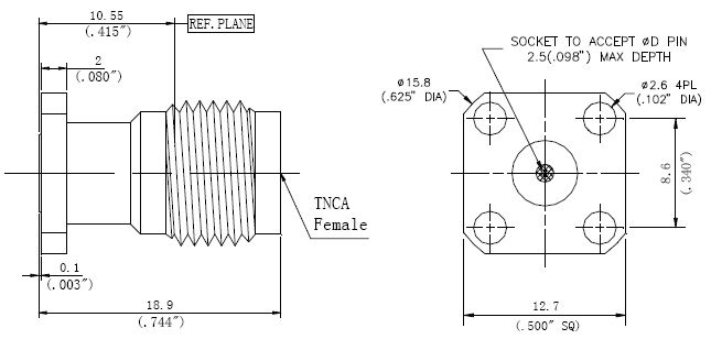 Replaceable Pin, TNCA Female Connector, Technical Drawing