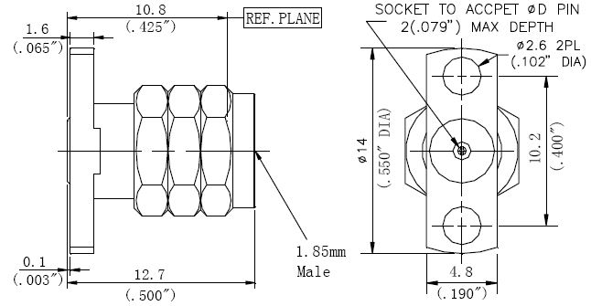 Replaceable Pin, 1.85mm Male Connector, Technical Drawing
