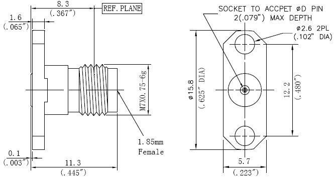 Replaceable Pin, 1.85mm Female Connector, Technical Drawing