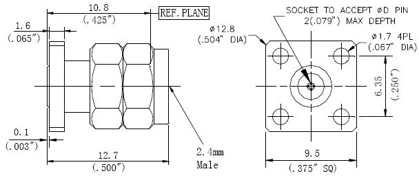 Replaceable Pin, 2.4mm Male Connector, Technical Drawing
