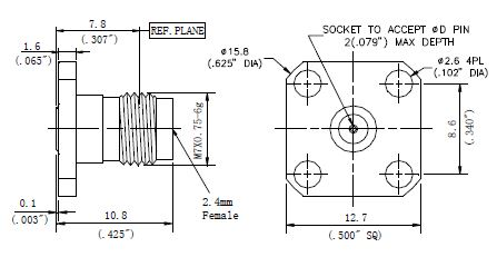 Replaceable Pin, 2.4mm Female Connector, 4 Hole Flange, Technical Drawing
