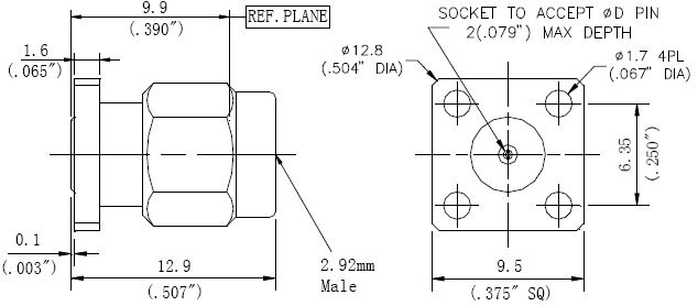 Replaceable Pin, 2.92mm Male Connector, 4 Hole Flange, Technical Drawing