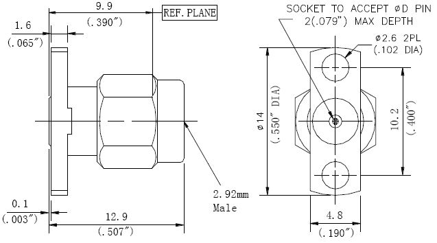 Replaceable Pin, 2.92mm Male Connector, 2 Hole Flange, Technical Drawing