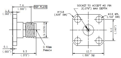 Replaceable Pin, 2.92mm Female Connector, 4 Hole Flange, Technical Drawing
