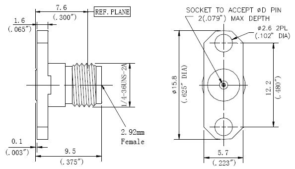 Replaceable Pin, 2.92mm Female Connector, 2 Hole Flange, Technical Drawing