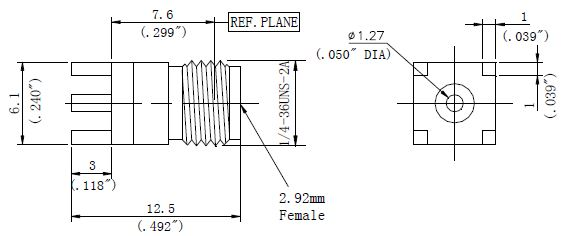 PCB Receptacle, 2.92mm Female Connector, Technical Drawing