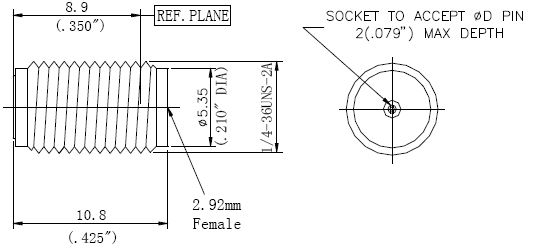 Replaceable Pin, 2.92mm Female Connector, Technical Drawing