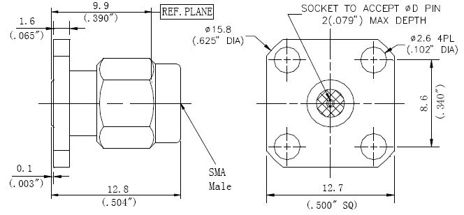 Replaceable Pin, SMA Male Connector, 4 Hole Flange, Technical Drawing