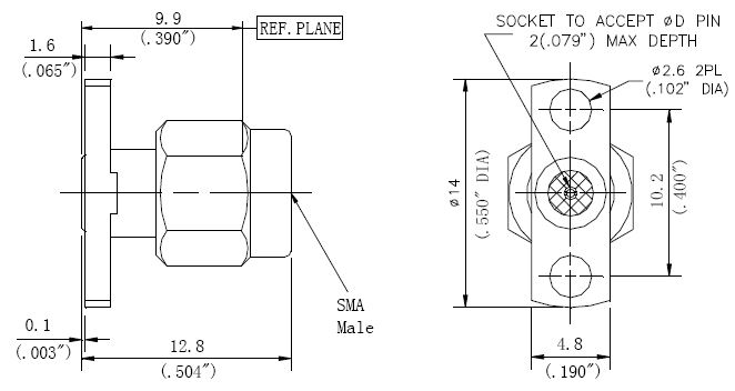 Replaceable Pin, SMA Male Connector, 2 Hole Flange, Technical Drawing