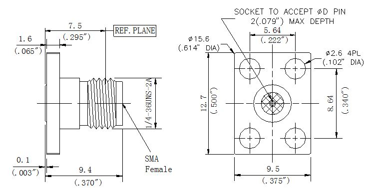RF Precision Connector, SMA Female, 4 Hole Flange, Technical Drawing