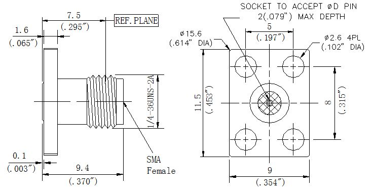 RF Precision Connector, SMA Female, Technical Drawing