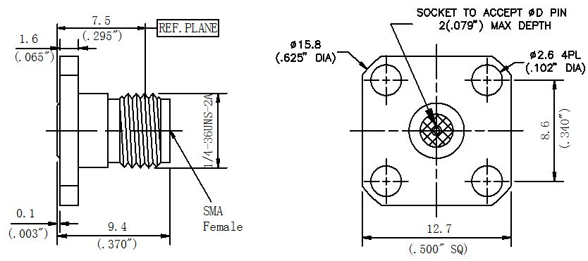 Replaceable Pin, SMA Female Connector, 4 Hole Flange, Technical Drawing