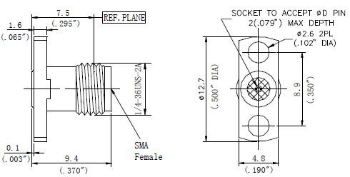 Replaceable Pin, SMA Female Connector, 2 Hole Flange, Technical Drawing