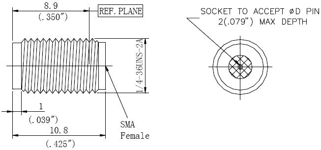Replaceable Pin, SMA Female Connector, Technical Drawing