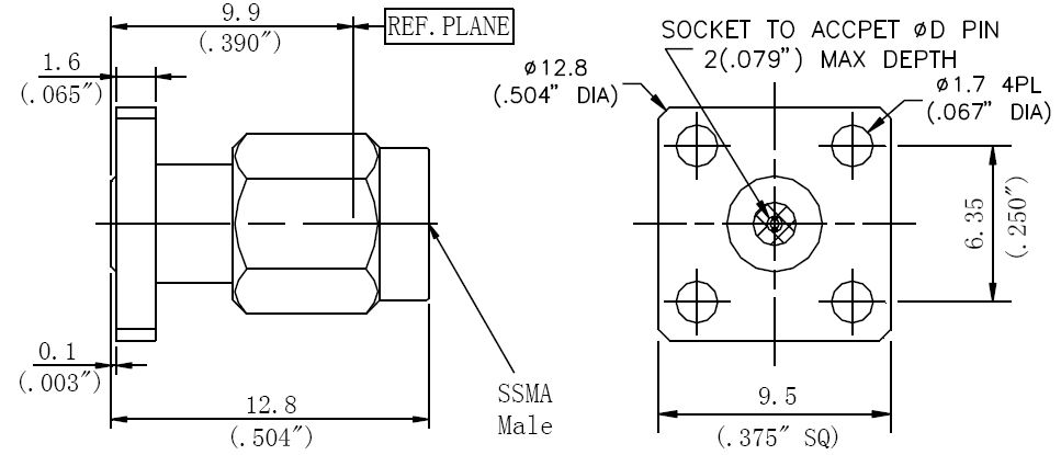 Replaceable Pin, SSMA Male Connector, 4 Hole Flange, Technical Drawing