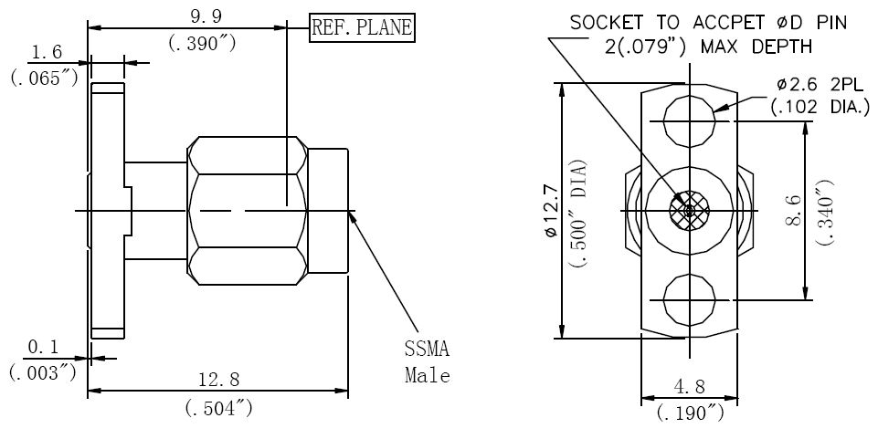 Replaceable Pin, SSMA Male Connector, 2 Hole Flange, Technical Drawing