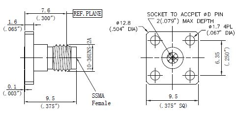 Replaceable Pin, SSMA Female Connector, 4 Hole Flange, Technical Drawing
