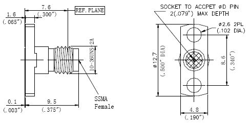 Replaceable Pin, SSMA Female Connector, 2 Hole Flange, Technical Drawing
