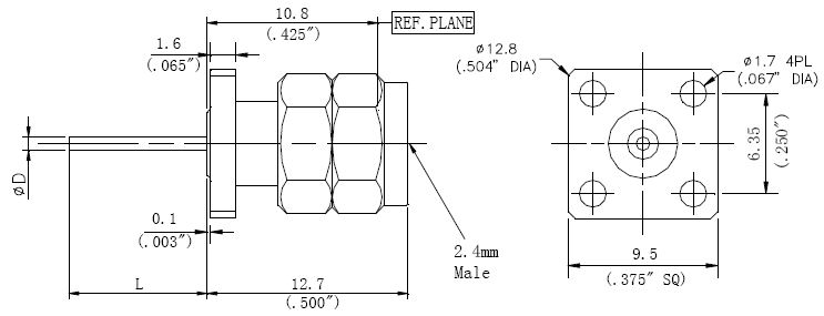 Blunt Post Contact, 2.4mm Male Connector, Technical Drawing