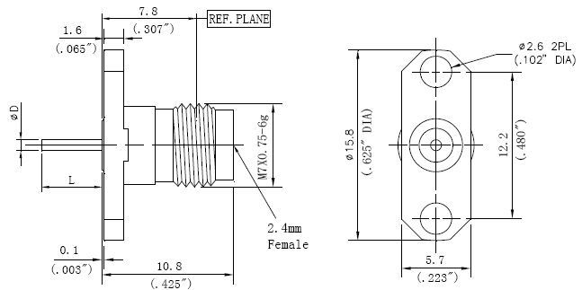 Blunt Post Contact, 2.4mm Female Connector, Technical Drawing