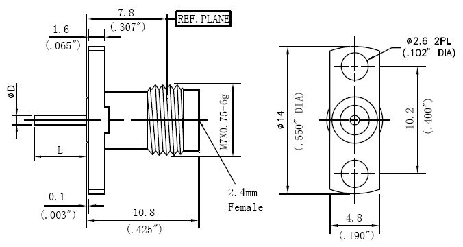 Blunt Post Contact, 2.4mm Female Conenctor, Technical Drawing