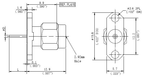Blunt Post Contact, 2.92mm Male Connector, 2 Hole Flange, Technical Drawing