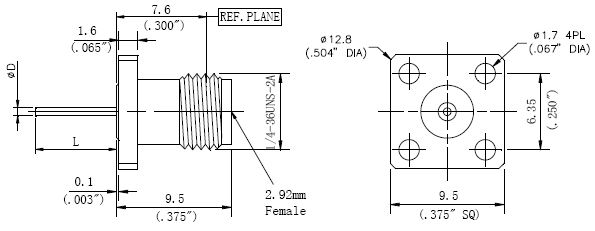 Blunt Post Contact, 2.92mm Female Connector, 4 Hole Flange, Technical Drawing