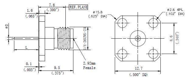 Blunt Post Contact, 2.92mm Female Connector, Technical Drawing