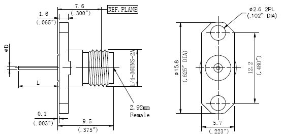 Blunt Post Contact, 2.92mm Female Connector, 2 Hole Flange, Technical Drawing