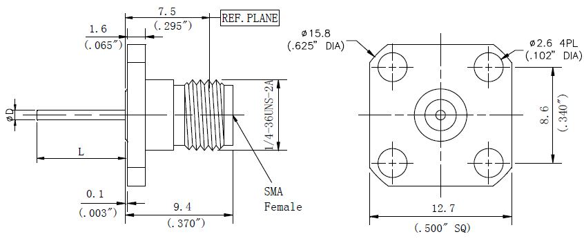 Blunt Post Contact, SMA Female Connector, 4 Hole Flange, Technical Drawing