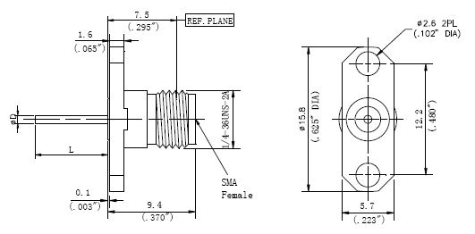 Blunt Post Contact, SMA Female Connector, 2 Hole Flange, Technical Drawing