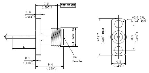Blunt Post Contact, SMA Female Connector, Technical Drawing
