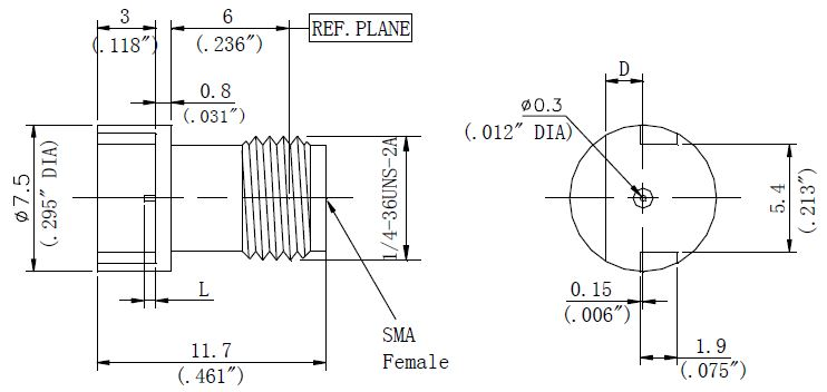 PCB Receptacle, SMA Female Connector, Technical Drawing